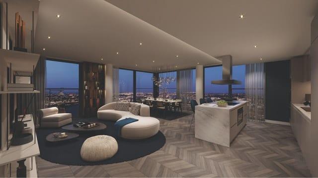 Sie sehen eine moderne Penthousewohnung