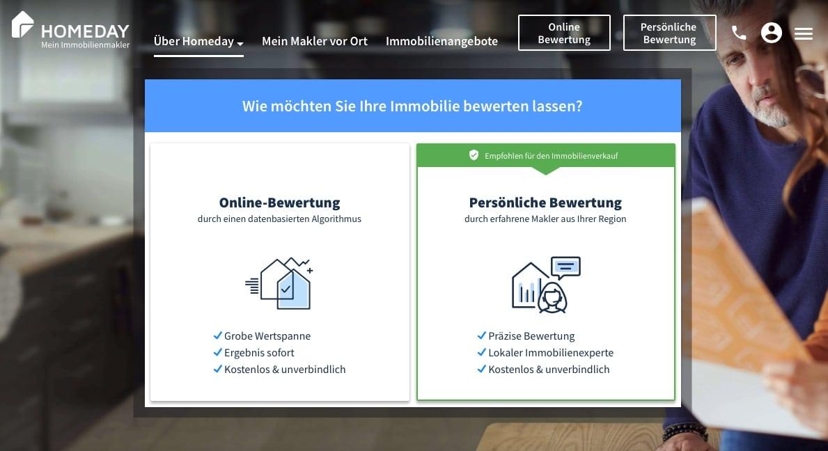 Sie sehen die Startseite von homeday.de
